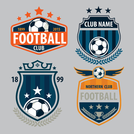 symbol sport: Fußball-Abzeichen-Logo-Vorlage Sammlung Design, Fußball-Team, Vector Illuatration