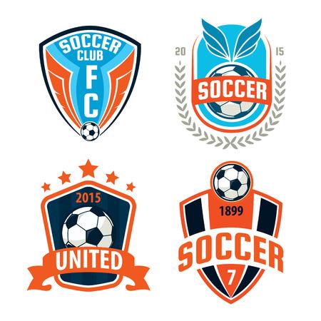 Insignia de fútbol diseño de la colección insignia de la plantilla, el equipo de fútbol, ??vector illuatration Foto de archivo - 46627554