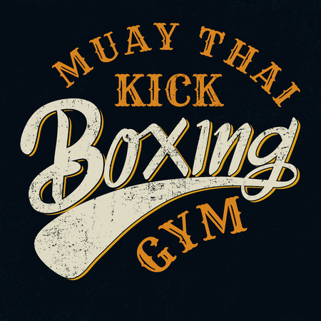 boxing boy: Muay thai kick boxing typograpic for t-shirt,poster,background,sticker,emblem,tee design,vector illustration