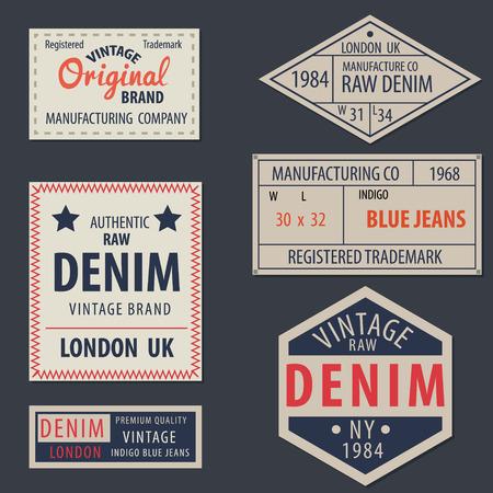 etiquetas de ropa: blue jeans de mezclilla primas etiquetas originales de época, auténticas marcas exclusivas, ilustración vectorial