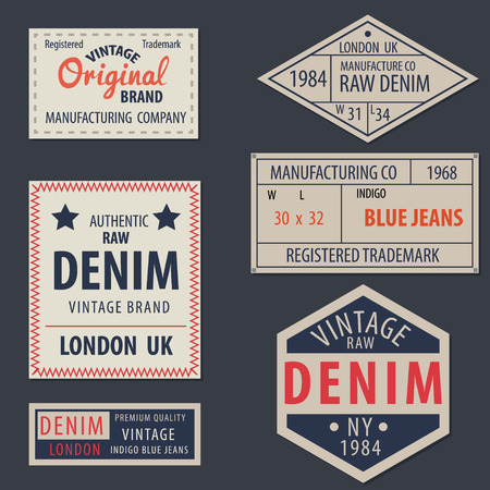 blue denim: vintage  original blue jeans raw denim labels,genuine exclusive brands,vector illustration
