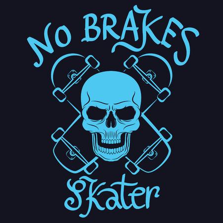 brakes: no brakes skater graphic for t-shirt,tee design,poster,emblem,vector illustration