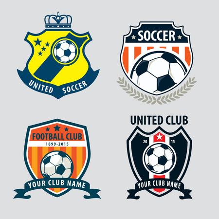 Insignia de fútbol diseño de la colección insignia de la plantilla, el equipo de fútbol, ??vector illuatration Foto de archivo - 46627712
