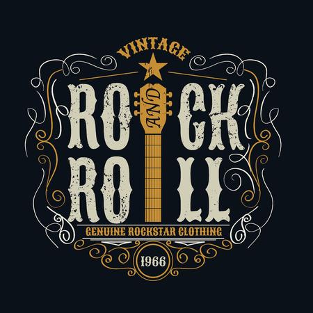 concierto de rock: typograpic el rock and roll vintage para la camiseta, camiseta designe, cartel, folleto, ilustración vectorial