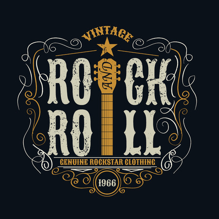 vintage rock and roll typograpic for t-shirt ,tee designe,poster,flyer,vector illustration Banco de Imagens - 46627883