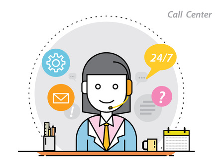 telemarketing: thin line flat design concept of call center,telemarketing or operator Illustration