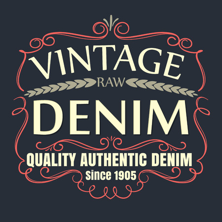 blue signage: vintage raw senim typographic for t-shirt,tee graphic,poster,label,vector illustration