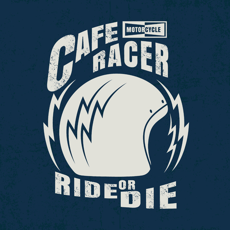 racer: cafe racer typographic with helmet graphic for t-shirt,tee design,vector illustration