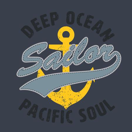 sailor pacific soul graphic for apparel,tee design,vector illustration Illustration