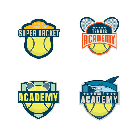 school kit: tennis  set,championship,tournament,decal,vector illustration Illustration