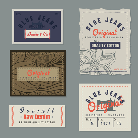 blue signage: vintage original blue jeans raw denim labels,genuine exclusive brands,vector illustration Illustration
