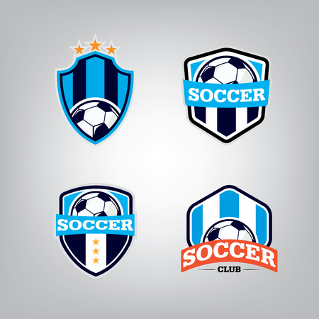 football teams: Soccer  Design Template set l Football badge team identity collection l Soccer Football T-shirt graphic l Vector illustration Illustration