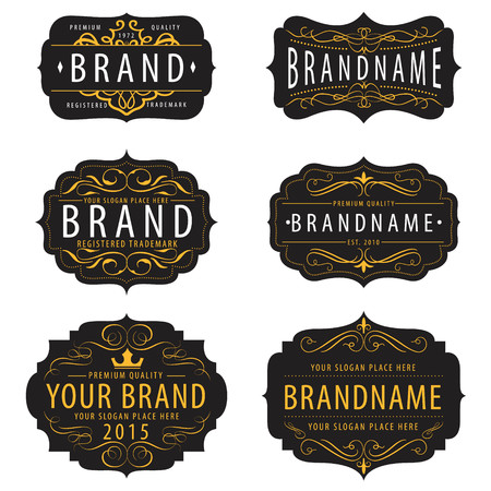 caligraphic: Vintage  calligraphic  frames collection ,elements for your logo template,label,badge,brand identity,menu restaurant Illustration