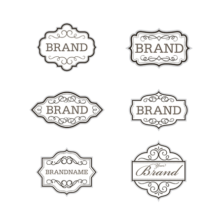 caligraphic: Vintage badge logo design template set l Brand identity collection l vector illustration