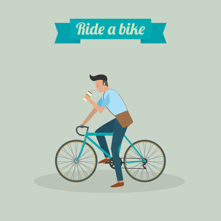 hipster man character riding a bike and drinking water vector ilustration