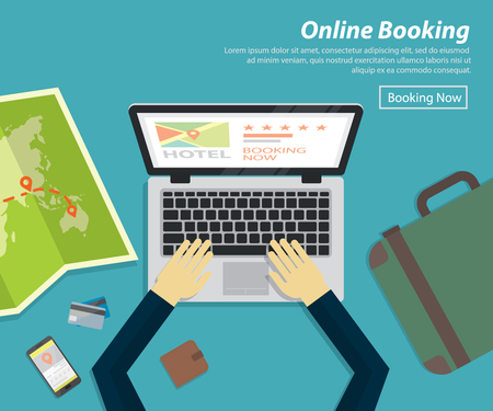 vacation with laptop: flat design of online booking hotel ,vector concept for holiday plan