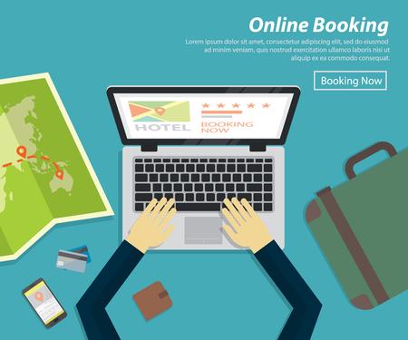Platte ontwerp van online boeking hotel, vector concept voor vakantie plan Stockfoto - 63887380