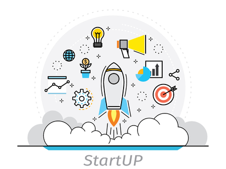 Thin line flat design concept of startup