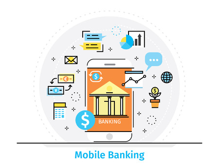 mobile banking: Thin line flat design concept for mobile banking Illustration