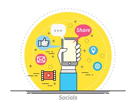 mobile app: Thin line flat design concept for Mobile social App