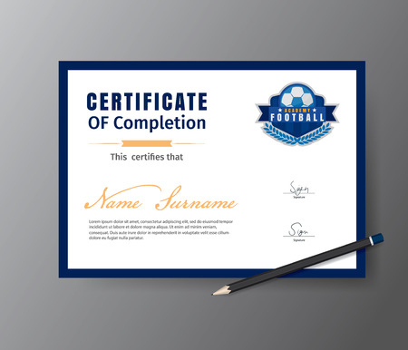 Vector template for certificate of football training academy
