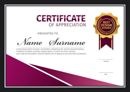 horizontal certificate template, diploma, vector