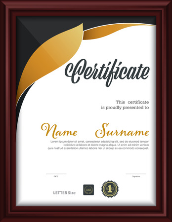 certificate template,letter size diploma, vector illustration Illusztráció