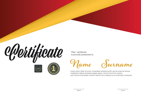certificate template, A4 size diploma, vector illustration Illustration