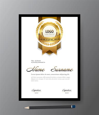 Modern Golden certificate template,A4 size diploma, vector illustration Illustration