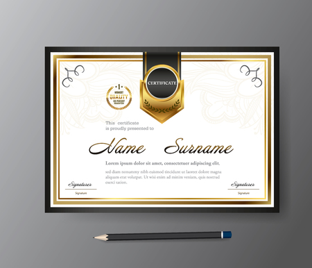 Certificate template,A4 size diploma, vector illustration
