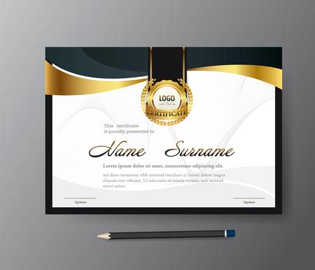 Modern Golden certificate template,A4 size diploma, vector illustration Illusztráció