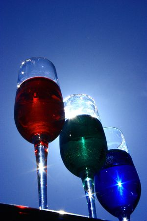 3 wine glasses infront of the sun Stock Photo - 7161094