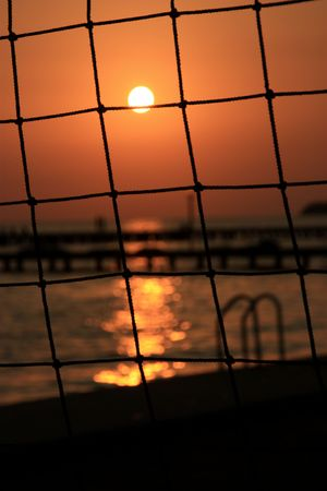 sun through a net Stock Photo