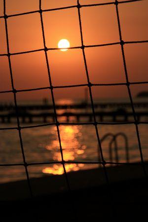 sun through a net Stock Photo