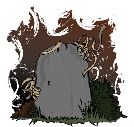 gravestone with a mummy coming from behings it Vector