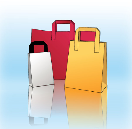 3 colourful shopping bags with blue bacjground and a reflection Stock Vector - 7796306
