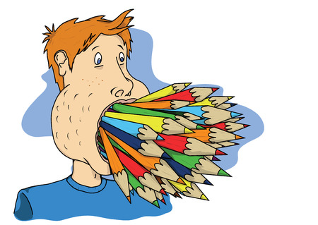 cram: pencil mouth Illustration