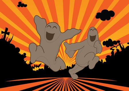 Fantômes libres courir dans le soleil couchant, silouettes noires Banque d'images - 7796309