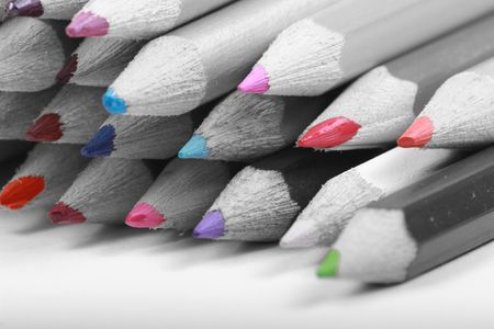 colour popped black and white pencils Stock Photo