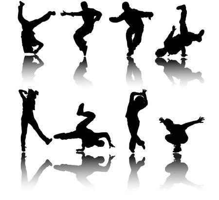 arte callejero: bailarines de calle de silouted  Vectores