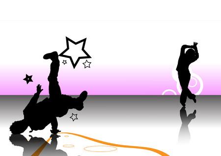 dancer silouette background Stock Vector - 8032453