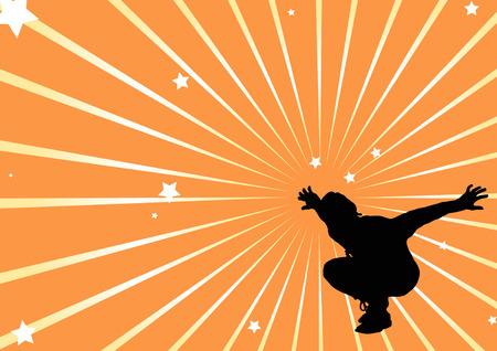 strip dance: female dancer star burst Illustration