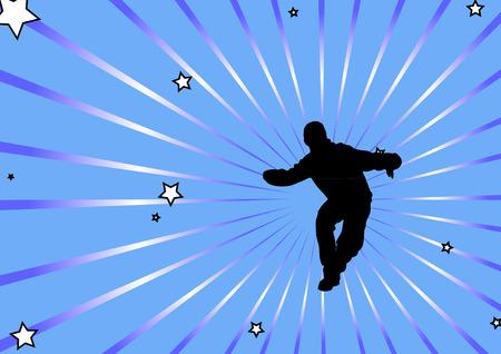 male dancer: male dancer star burst Illustration