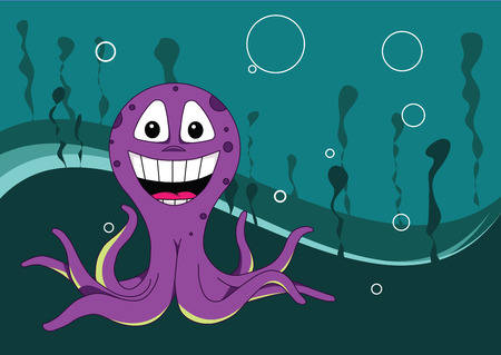 under water octopus background Vector