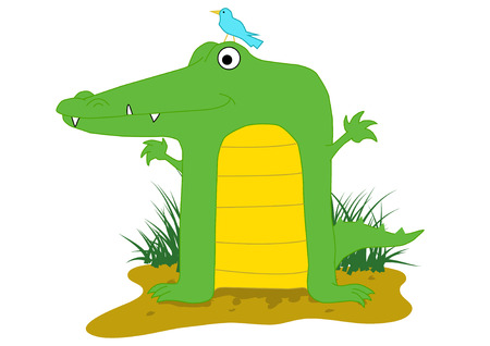 illustration of a cartoon crocodile with a bird on its head.   Vector