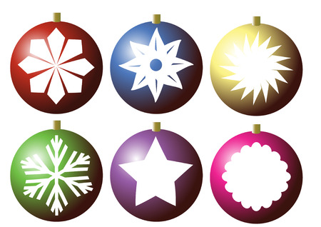 8 different  snow flake designs on different colour baubles.