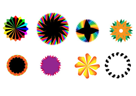 8 different designs of colour spirals rotating.   Illustration