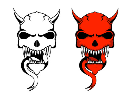 demon skull design of one in red and one is white.eps(v8) Illustration
