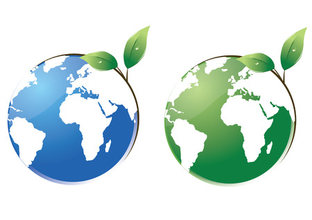 protect the planet, two planets in green and blue. Eps(v8) Illustration
