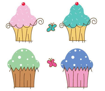 4 illustrations of cup cake with two butterfly decorations. V8 eps vector file.